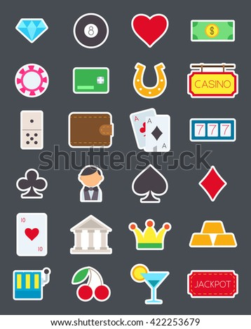 Set of 24 games of chance isolated vector icons