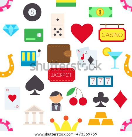 Set of Games of chance vector pattern stickers