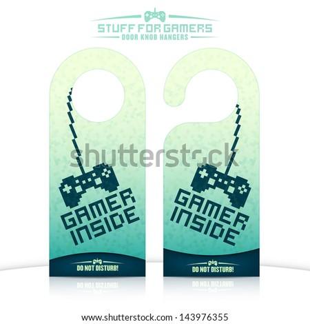 Set of gaming related door knob hangers. Raster JPG version also available  in portfolio. - stock vector
