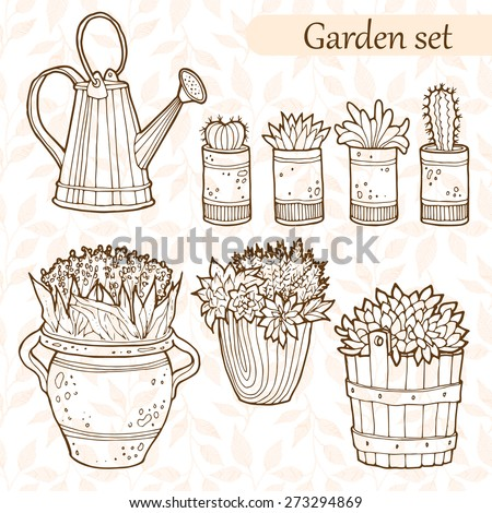 Set of garden flowers in a pots. Hand drawn vector illustration. - stock vector