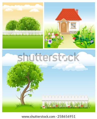 set of garden images - templates for design - stock vector