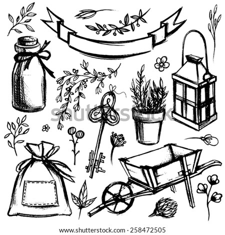 Set of garden tools and floral elements isolated on white background. - stock vector