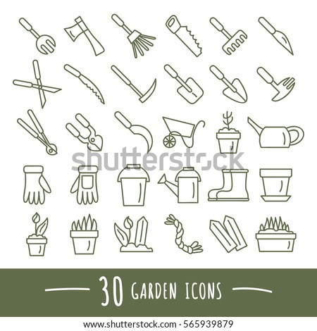 Set of garden tools icons  Isolated vector illustration. Garden Tools Stock Images  Royalty Free Images   Vectors