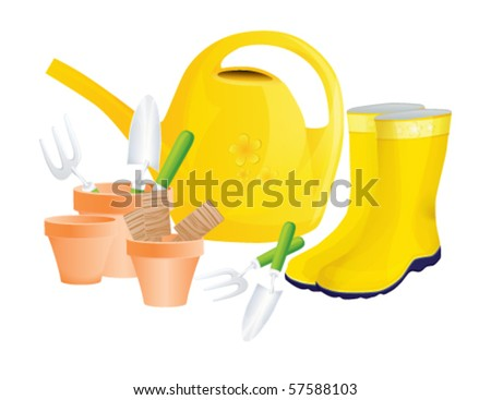 Set of garden tools isolated on white, vector