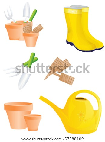 Set of garden tools isolated on white, vector - stock vector