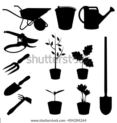 Set garden tools vector silhouettes stock vector 404284264 for Gardening tools drawing