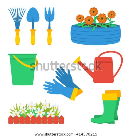 Set of gardening elements: gloves, boots, watering can, fence and flowers, tire with flowers, garden tools (hand fork, hand cultivator, hand trowel), bucket