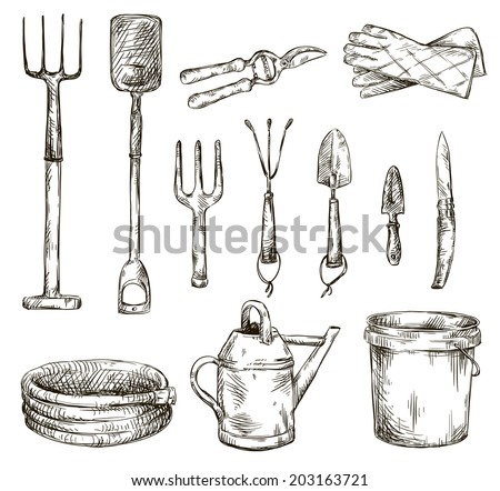 Hand tools drawings for Gardening tools drawing