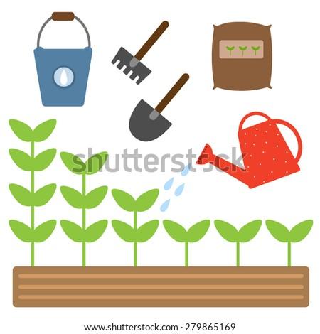 Set of gardening tools. Watering plants. Vector illustration. - stock vector