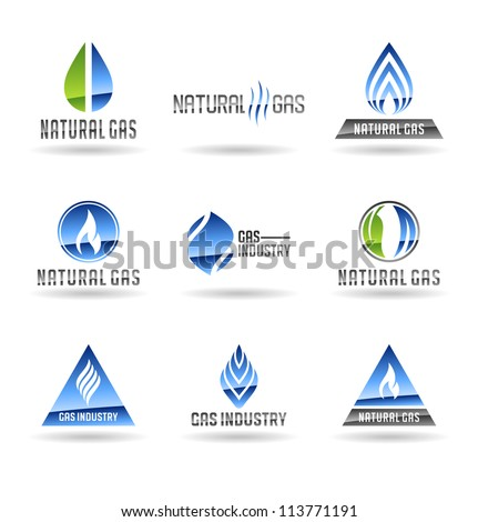 Set of gas energy icons. Natural gas. Gas industry. Vol 2. - stock vector