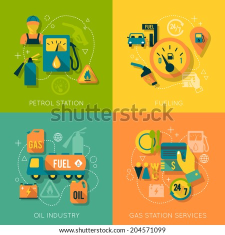 Set of gas fuel station car oil petrol auto service concept flat business icons set for infographics design web elements vector illustration - stock vector