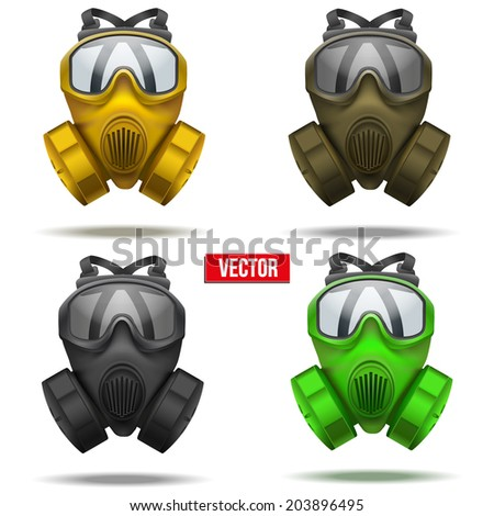 Set of gas mask respirator. Rubber rescuer symbol of defense and protect. Isolated on white background. - stock vector