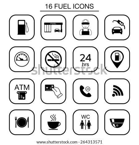 Set of gas station icons. Isolated. Vector illustration - stock vector