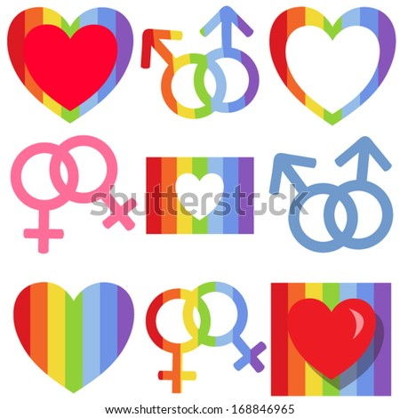 Set of gay rainbow simbols and backgrounds.  - stock vector
