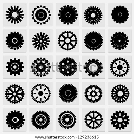 set of gear cogwheels vector - stock vector