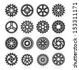 Set of gear icons. Vector illustration - stock vector