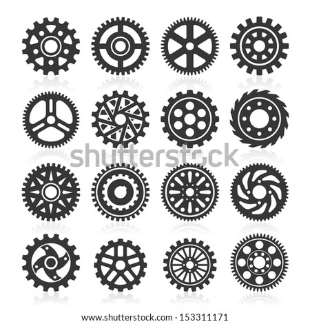 Set of gear icons. Vector illustration