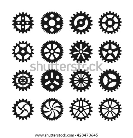 Set of gear wheels black icons isolated on white. Vector illustration