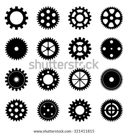 Set of gear wheels, vector illustration - stock vector
