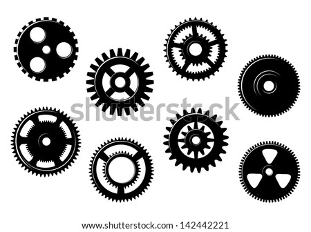 Set of gears and pinions isolated on white background. Jpeg version also available in gallery  - stock vector