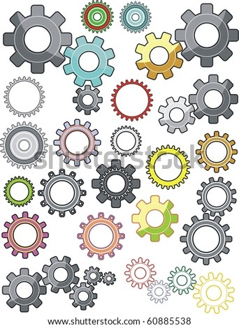 set of gears/ isolated on white - stock vector