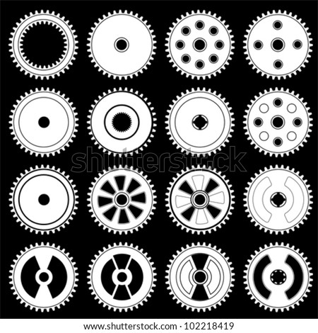 Set of gears, vector - stock vector