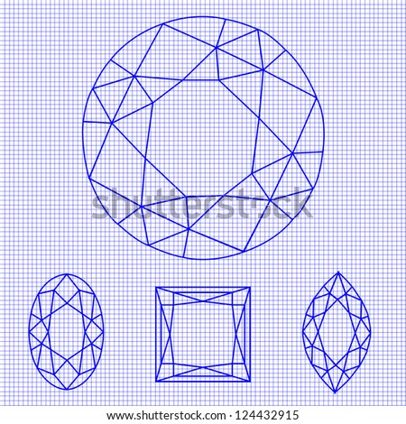 Set of Gemstone Wireframes, Vector Illustration