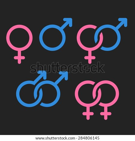 Set of gender symbols and relationship icons. - stock vector