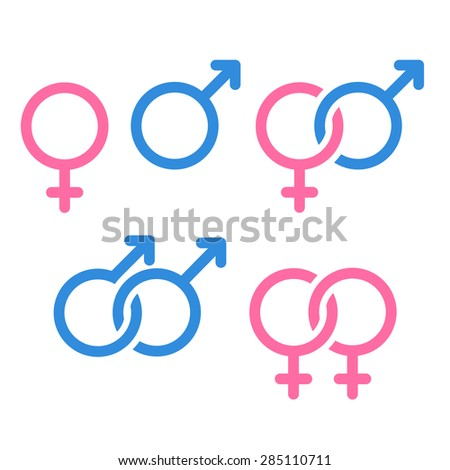 Set of gender symbols and relationship icons isolated on white background. - stock vector
