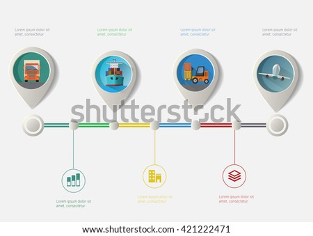 Set of geo location pointers. Transport icons infographic timeline. - stock vector