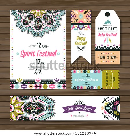 Set geometric boho bright flyers vector stock photo photo vector set of geometric boho bright flyers vector decorative ethnic greeting card or invitation design background stopboris Choice Image