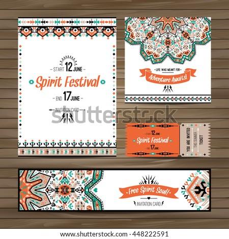 Set of geometric boho colorful flyers. Vector decorative ethnic greeting card or invitation design background
