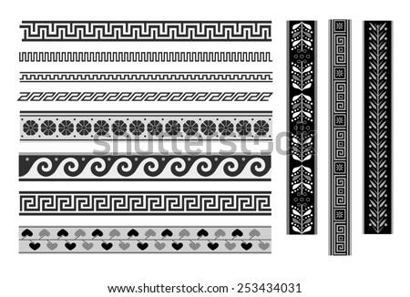 Set of geometric borders. Greek ornament - stock vector