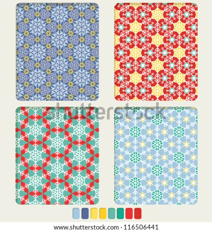Set of geometric bright seamless ornament with the shape of snowflakes us based form. Color palette for patter included - stock vector