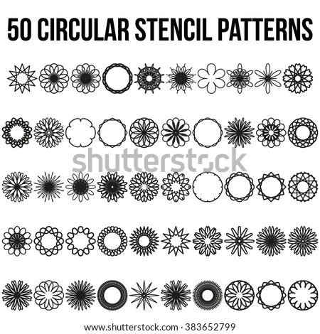 Set of Geometric circular ornaments. Vector Illustration isolated on white background. Circular ornaments, set ornaments, stencil ornaments, floral ornaments, flower ornaments - stock vector