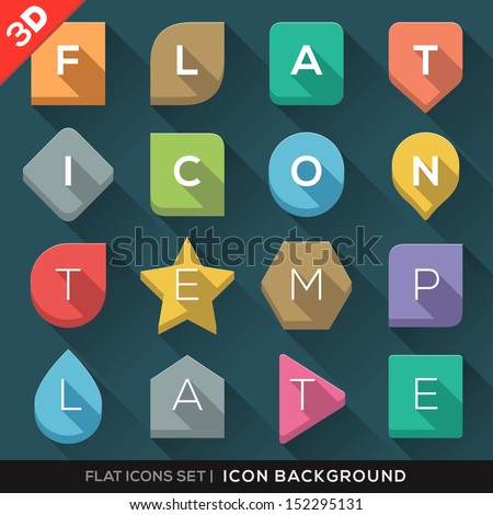 Set of Geometric 3D Shapes background for Flat Icons with long shadow for App / Web / UI / Button / Interface design - stock vector