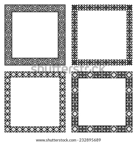 Set of geometric frames in black color isolated on white background. Four square with ethnic borders. For your design, text or photo. Vector illustration.  - stock vector