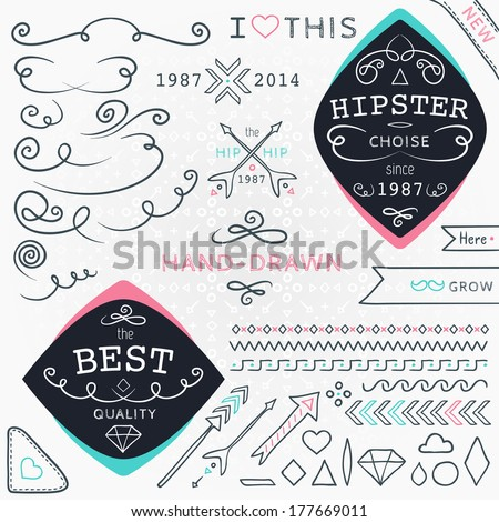 Set of geometric hipster elements - stock vector