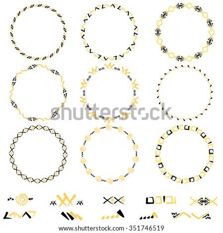 set of geometric ornament seamless pattern brush wreath. Brush black and yellow elements - stock vector