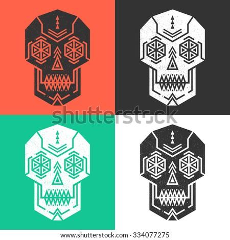 Set of geometric ornamental human skulls.Abstract vector skulls isolated.Conceptual vector art.Grunge print. - stock vector