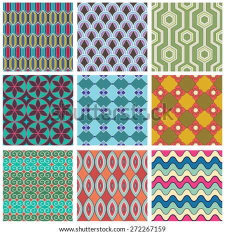 Set of geometric seamless pattern. Colorful abstract backgrounds. Texture for fabric.