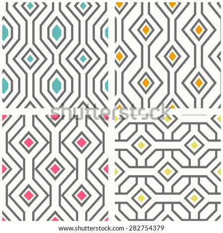 Set of geometric seamless patterns.Vector background with geometrical ornament.  - stock vector