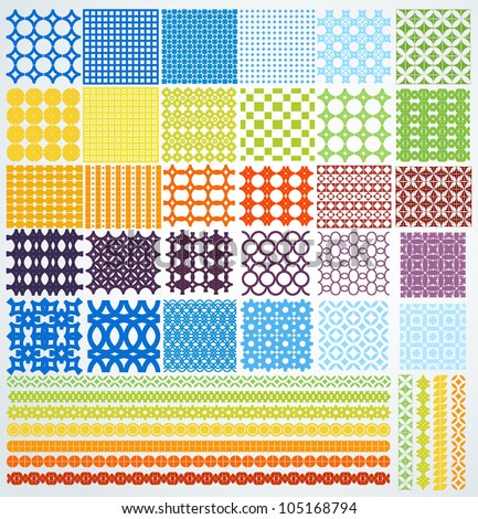 Set of geometric seamless patterns. Vector backgrounds collection.