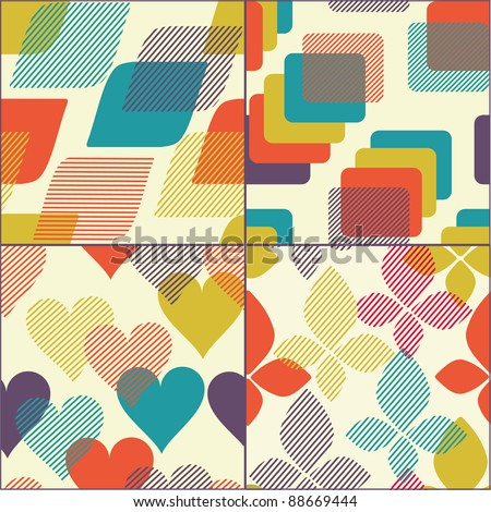 Set of geometric seamless patterns, wallpapers,and backgrounds - stock vector