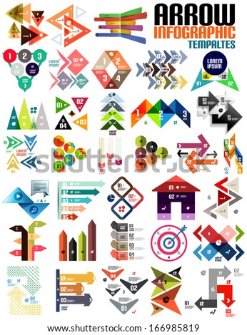 Set of geometric shape arrow info templates for templates, technology, presentation, banner, layout  stripes, ribbons, lines. For banners, business backgrounds, presenations - stock vector