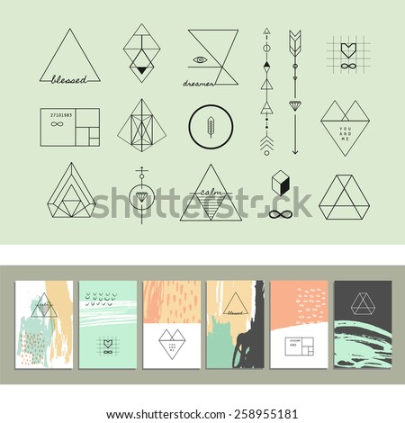 Set of geometric shapes and six templates of creative cards. Trendy hipster retro backgrounds and logotypes. - stock vector