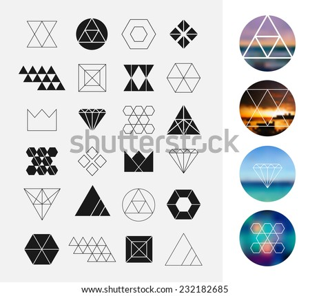 Set of geometric shapes. Hipster retro backgrounds and logotypes.  - stock vector