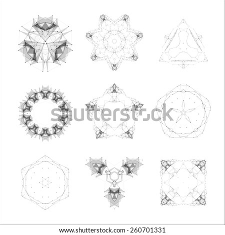 Set of geometric shapes, low poly shapes, triangles, line design, vector. Guilloche vector elements.  - stock vector