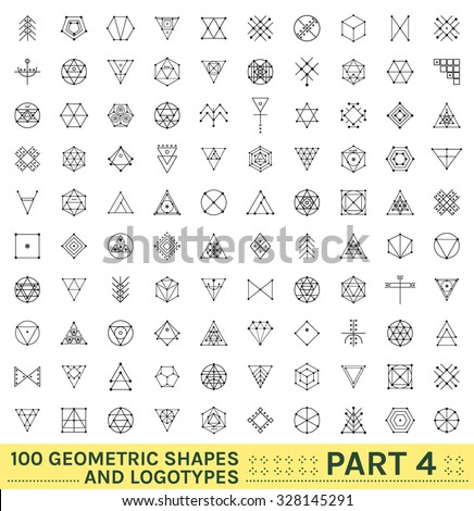 Set of 100 geometric shapes. Trendy hipster icons and logotypes. Religion, philosophy, spirituality, occultism symbols collection - stock vector