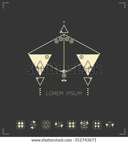 Set of geometric shapes. Trendy hipster icons and logotypes. Religion, philosophy, spirituality, occultism symbols collection